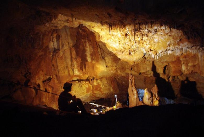Inside the Manot Cave in Israel's Galilee, where a 55,000-year-old skull sheds new light on human migration patterns. Photo courtesy of: Amos Frumkin/Hebrew University Cave Research Center