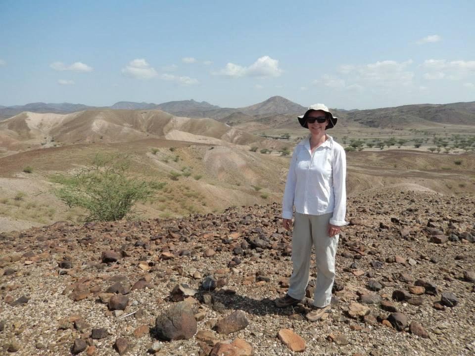 Professor Carol Ward overlooking Kanapoi in the West Turkana Basin in Kenya. Photo courtesy of the West Turkana Paleo Project.