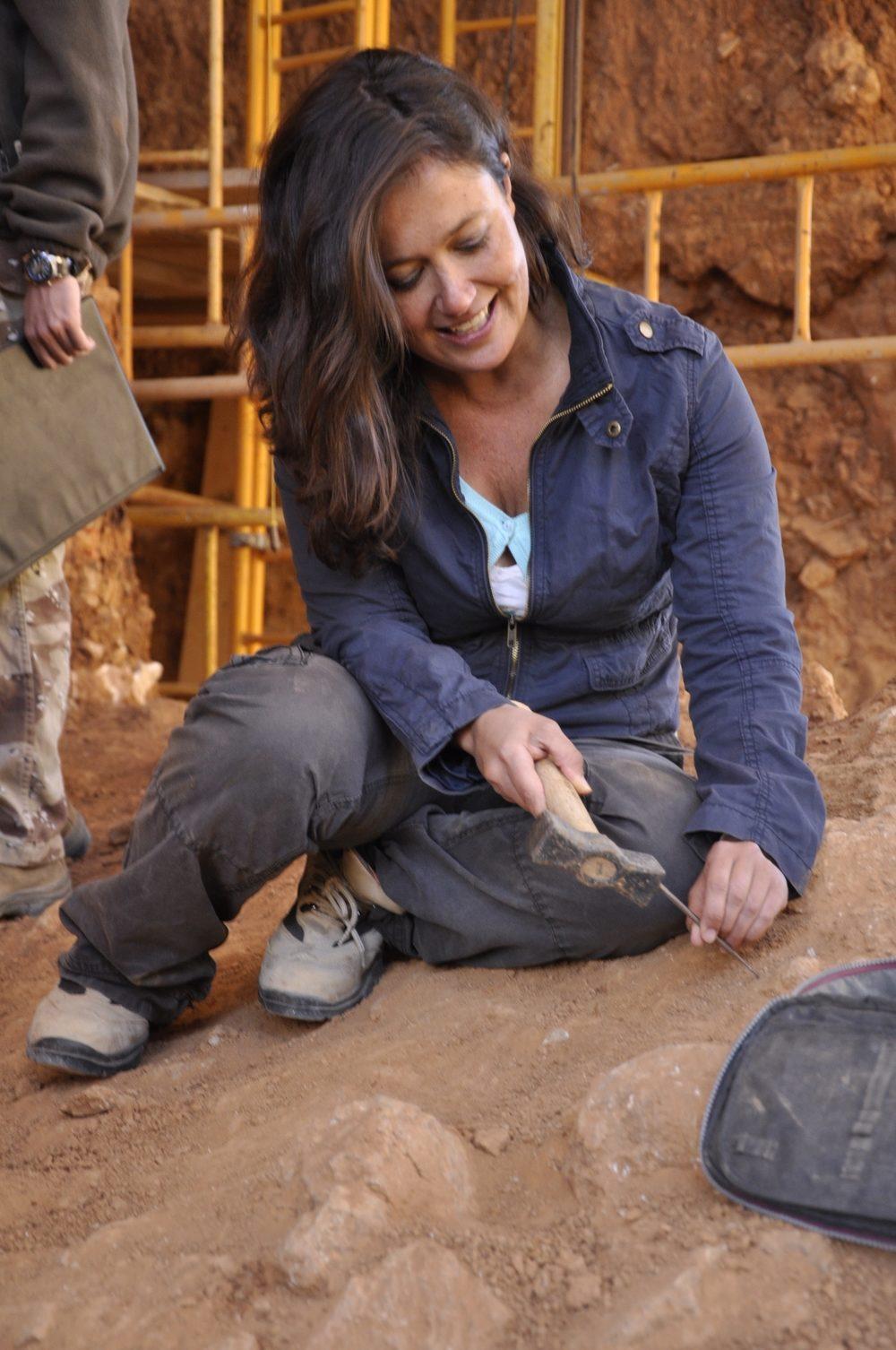 MaríaMartinon-Torres at the Atapuerca sites. Photo credit: A. Canet.