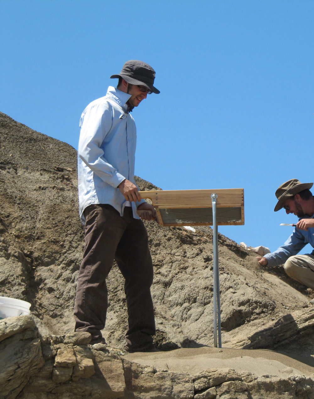 Stephen Chester screening for Paleocene plesiadapiforms and other mammal fossils in Montana. Photo credit:  Eric Sargis