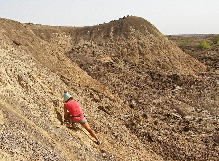 Villaseñor collecting soil samples from a hillside in East Turkana, Kenya