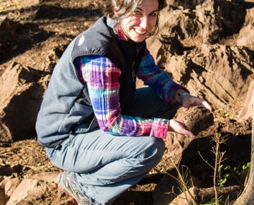 Julie Lesnik investigating a termite nest at the South African fossil hominid site of Malapa known for its 1.9 million year old fossils of Australopothecus sediba.