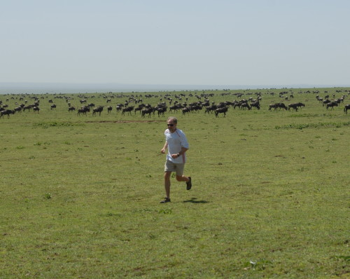 Team Leakey's Dan Lieberman running in the Serengeti