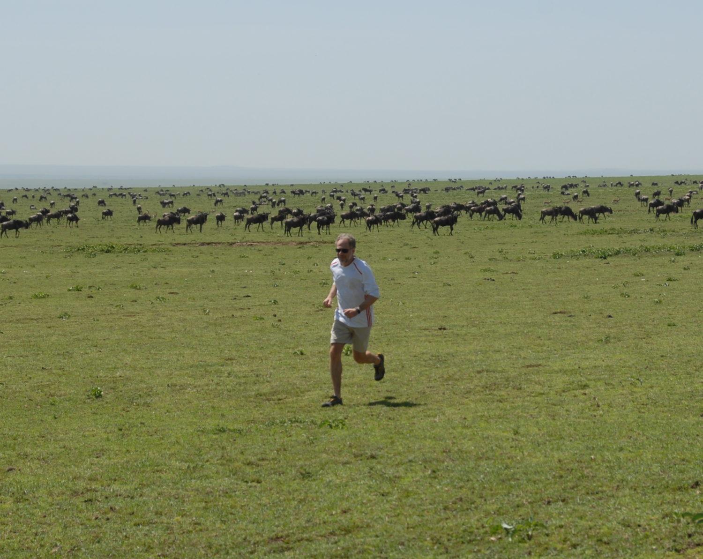Team Leakey's Dan Lieberman running in the Serengeti