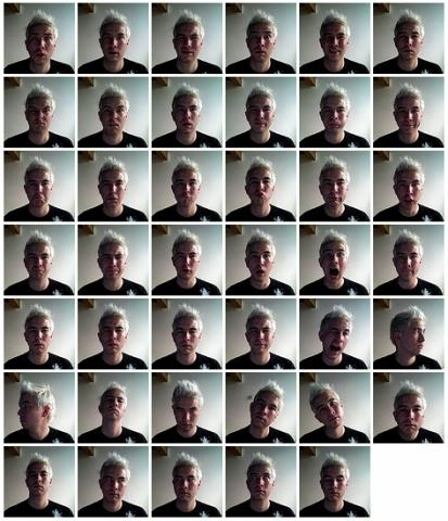 A set of 41 micro-expressions in Ekman's Facial Action Coding System. Photo by Buster Benson.