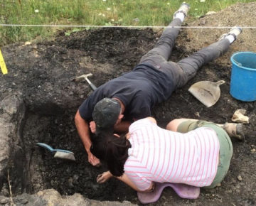 Excavating a suid mandible from Miocene deposits near Rudabánya, Hungary, with Dr. Jay Kelley