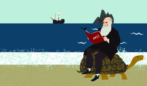 Darwin sits on a turtle's back reading from a book on a beach